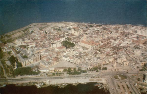Aerial View of the Old Spanish Town Cartagena Colombia