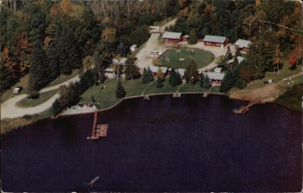 Aerial View of Twin Cedars Resort Trout Lake Michigan