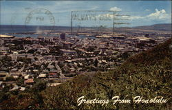 City from a Punchbowl Observation Point Postcard