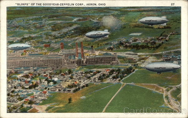 Blimps of the Goodyear-Zeppelin Corp Akron Ohio
