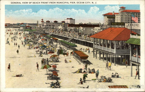 General View of Beach Front from Municipal Pier Ocean City New Jersey