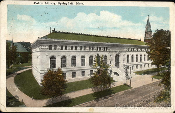 View of Public Library Springfield Massachusetts