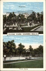 Clyde Park Playground, Tennis Courts Postcard