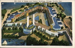 Hall of States and Federal Buildings, Chicago World's Fair Postcard