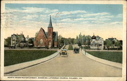 North Washington Street, Showing Lutheran Church Postcard
