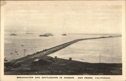 Breakwater and Battleships in Harbor