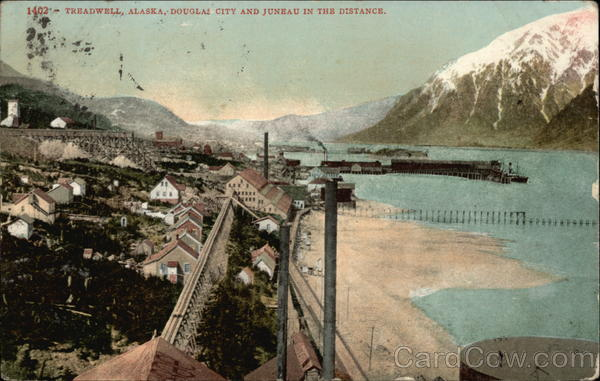 Douglas City and Juneau in the Distance Treadwell Alaska