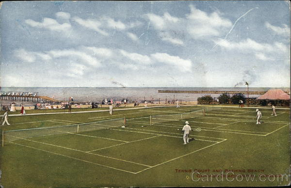 Tennis Court and Bathing Beach at Chicago Beach Hotel Illinois
