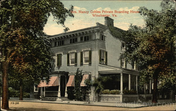Mrs. Nancy Cobles Private Boarding House Winchester Virginia