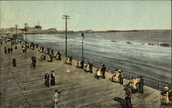 Rolling Chair Parade, Young's Ocean Pier in Distance Atlantic City New Jersey
