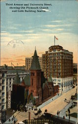 Third Avenue and University Street, showing Old Plymouth Church and Cobb Building