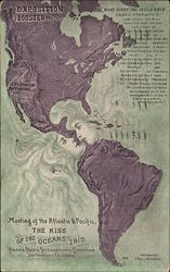 Exposition Booster Postcard, Meeting of the Atlantic & Pacific The Kiss of the Oceans 1915
