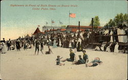 Sightseers in Front of Bath House on Board Walk Postcard