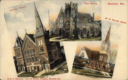 Christiian, Rock, and M. E. Churches Postcard