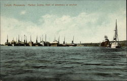 Harbor Scene - Fleet of Steamers at Anchor