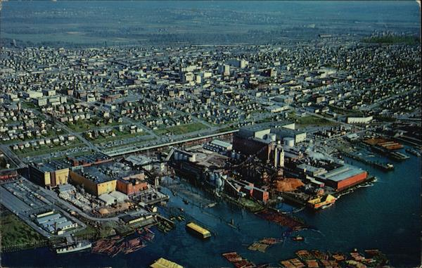 Aerial View of Pulp Mills, Paper Mills, Lumber Mills, and the Waterfront Everett Washington