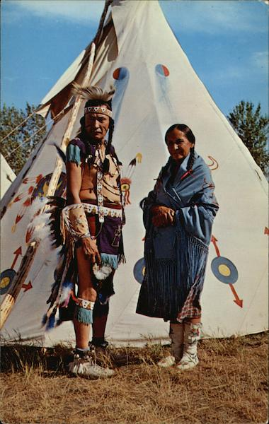 Chief Chasing Hawk and Wife and Tepee Design Native Americana
