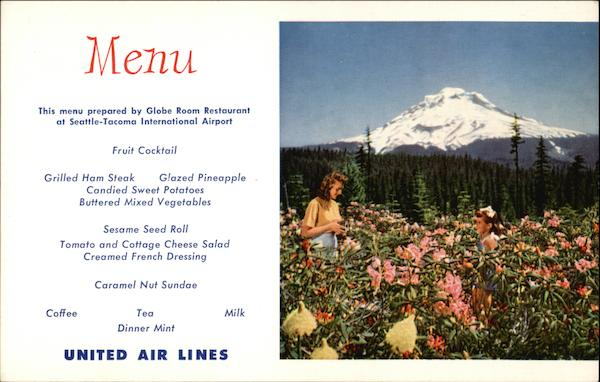 United Airlines Menu Mount Hoodn in Summer Portland Oregon