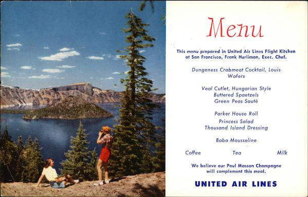 United Airlines Menu View of Crater Lake, Oregon Aircraft