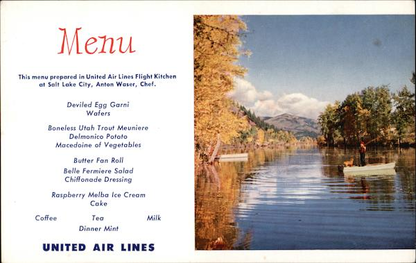 United Airlines Menu Quiet River in Northern Idaho