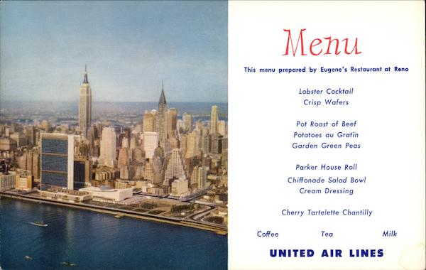 United Air Lines menu Aircraft