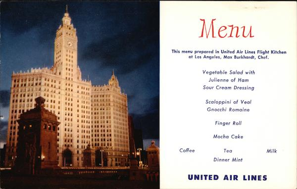 United Airlines Menu Floodlighted Wrigley Building Chicago Illinois