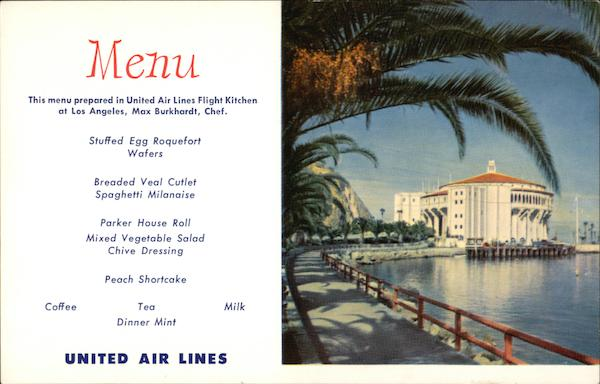 United Airlines Menu Santa Catalina Casino Santa Catalina Island California