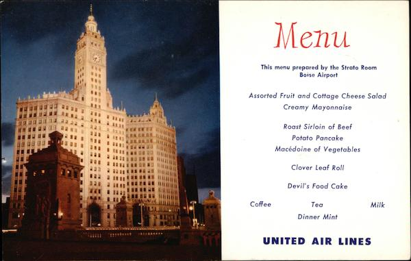 United Airlines Menu Wrigley Building Chicago Illinois