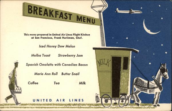 United Airlines Breakfast Menu Aircraft