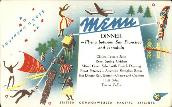 British Commonwealth Pacific Airlines Menu Aircraft