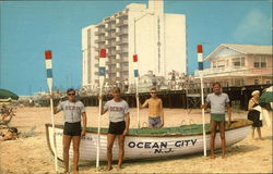 Beach Scene with Life Guards in front of Modernistic Port-O-Call Hotel