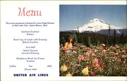 United Airlines Menu Oregon's Mt. Hood