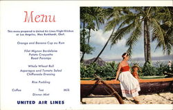 United Airlines Menu Visitors Sitting on Outrigger Canoe on Waikiki Beach