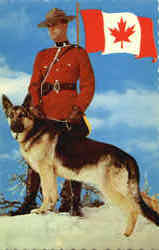 Royal Canadian Mounted Policeman With Dog