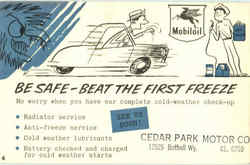 Mobil oil Be Safe Beat The First Freeze Postcard