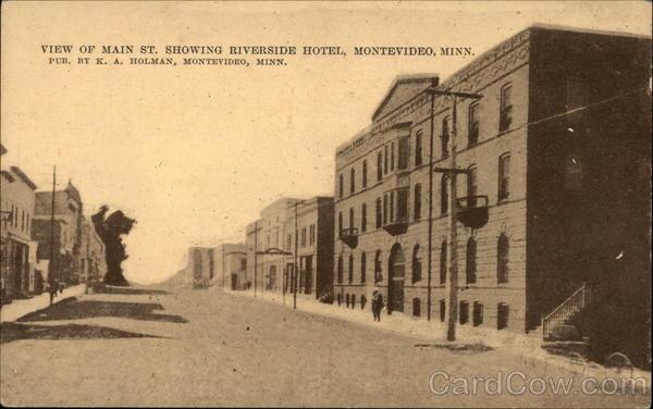 View Of Main Street Showing Riverside Hotel Montevideo Minnesota