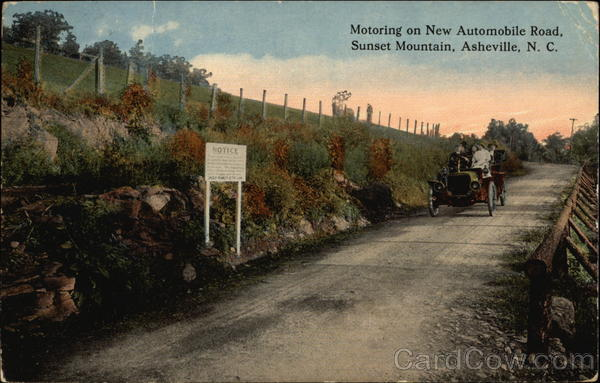 Motoring on New Automobile Road, Sunset Mountain Asheville North Carolina
