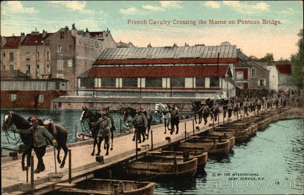 French Cavalry Crossing the Marne on Pontoon Bridge