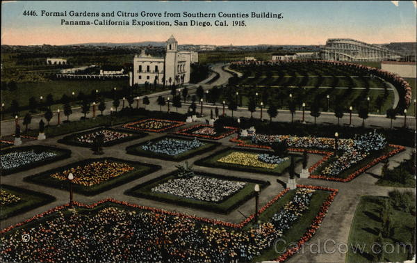 Formal Gardens and Citrus Grove from Southern Counties Building, Panama-California Exposition San Diego