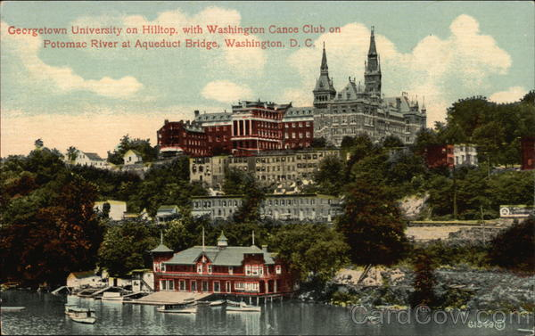 Georgetown University on Hilltop with Washington Canoe Club on River District of Columbia