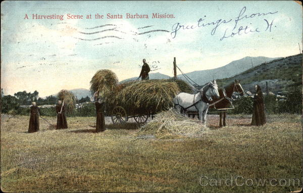 A Harvesting Scene at the Santa Barbara Mission California