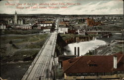 Birdseye View of the City, showing Lower Falls, Monroe Str. Bridge and Court House