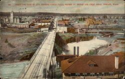 Bird's Eye View of City Showing Lower Falls, Monroe St. Bridge and Court House