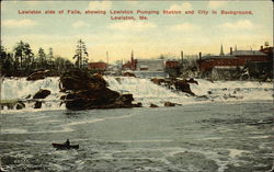 Lewiston side of Falls, showing Lewiston Pumping Station and City in Background