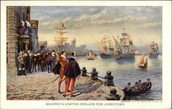 Colonists Leaving England for Jamestown Postcard