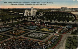 Formal Gardens and Citrus Grove from Southern Counties Building, Panama-California Exposition