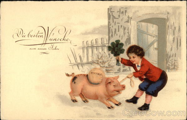 Kid playing with a pig Pigs