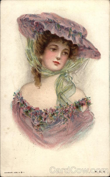 Women in Flower-Trimmed Dress Wearing Big Hat Advertising