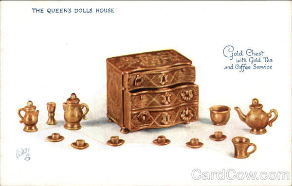 The Queens Dolls House. Gold Chest with Gold Tea and Coffee Service UK