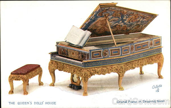 The Queen's Dolls' House. Grand Piano in Drawing Room UK